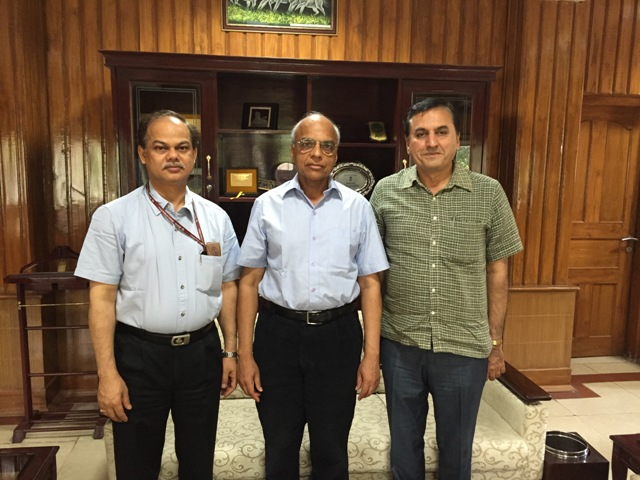 Dr Anand Asthana with Joint Secretary Training Mr Pramod Das left and Director ISTM right